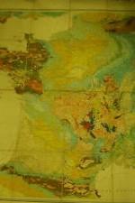 carta geologia francia entelado - 120x120cm , año 1888 - 350 €