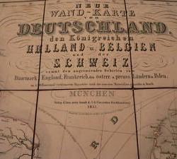 mapa alemania 4 partes  1851 , 90x90 - 300 €