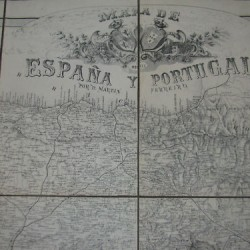 mapa españa entelado 1875- 162cmx123cm - 1.200 €