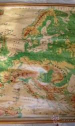 mapa fisico 1959 seix barral  entelado escuela 120x90 cm