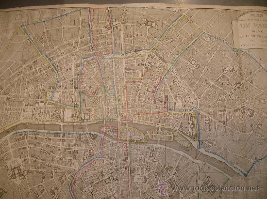mapa original paris 1804  - 81x57  - dividido en 12 municipalidades
